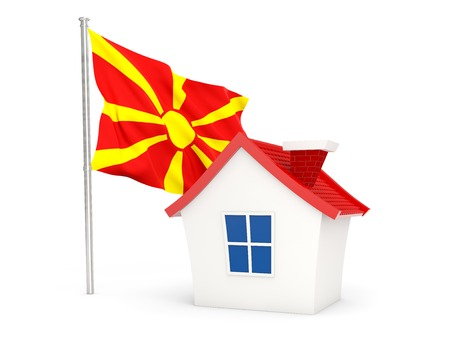 House with flag of macedonia isolated on white