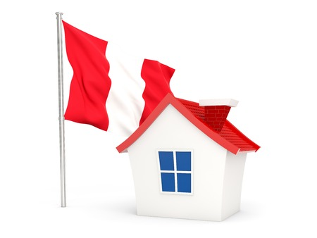 House with flag of peru isolated on white