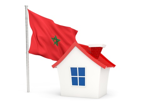 House with flag of morocco isolated on white