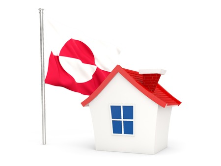 House with flag of greenland isolated on white