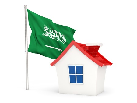 House with flag of saudi arabia isolated on white