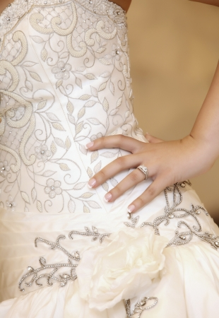 a beautiful traditional white wedding dress detail