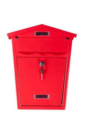 The mailbox with a key on white background.