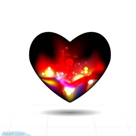 Design elements for Valentines Day. Vector. Heart black Icon abstraction Smoldering night with red coals. Fire. Vector graphic illustration.