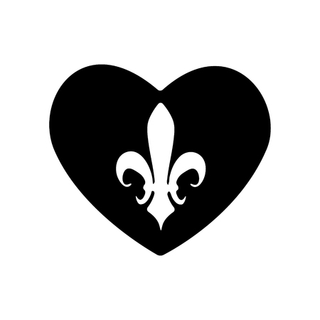 The heart icon. A symbol of love. Valentines Day. Fleur-de-lys, Heraldic Lily. Graphic and web design, logo. Vector monochrome. Royalty.