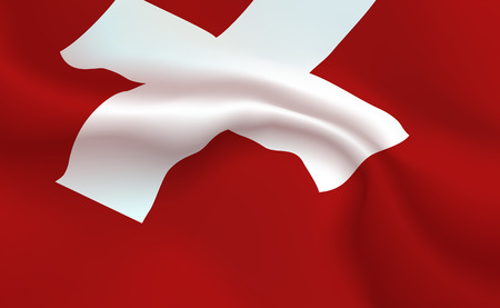 Background Switzerland Flag in folds. Swiss honor, helvetic banner. Pennant with cross up-close, standard Swiss Confederation. Helvetica, Realistic soft shadows. Central Europe vector Illustration.