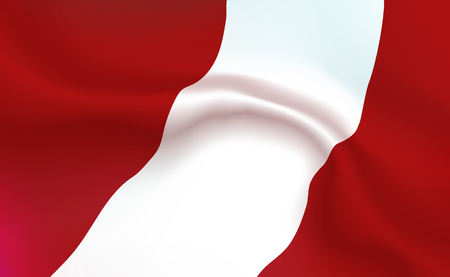 Background Austrian Flag in folds. Austria banner. Pennant with stripes concept up close, standard Federal Republic Of Austria. Central Europe illustration. Realistic soft shadows. Vector.