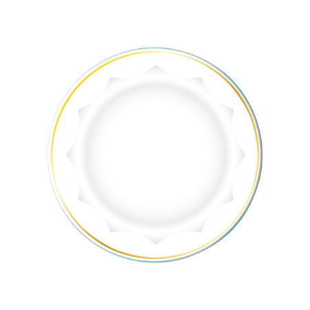 Illustration for White Plate with gold border and a polygonal bottom, isolated vector on a light background. Kitchen dishes for food, Illustration element for your product, food ads, tableware design. Eps10. - Royalty Free Image