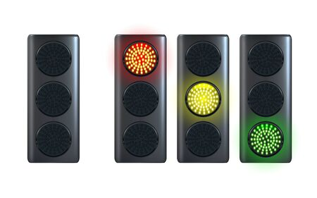 Illustration for Realistic traffic light template, isolated on white background. Red, yellow, green lights. Go, wait and stop. Vector illustration Eps 10. - Royalty Free Image