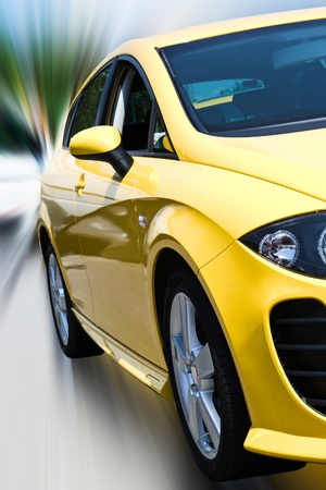 yellow car isloated with clipping path