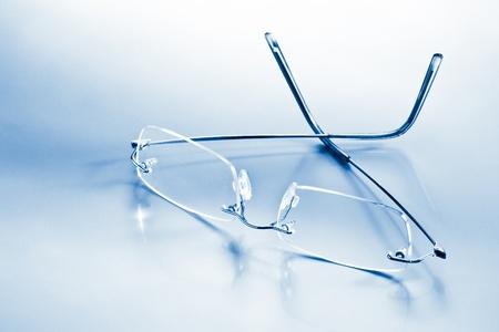 eyeglasses with reflection blue toned