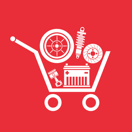 Auto parts in the supermarket trolley, Symbol of car parts store.