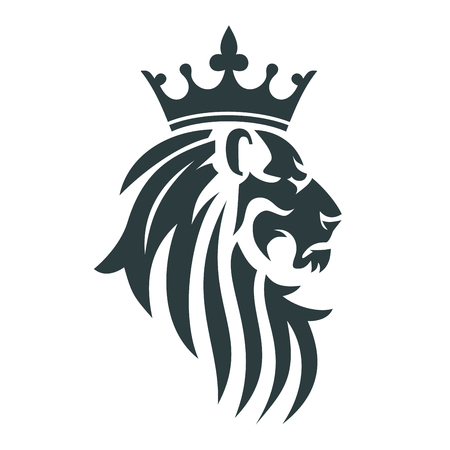 Ilustración de The head of a lion with a royal crown. Vector illustration or template for business - Imagen libre de derechos