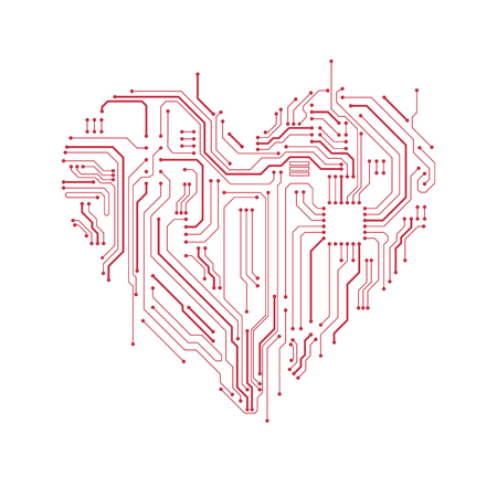 Circuit board heart symbol. Valentine's day vector card. Computer heart with motherboard elements.
