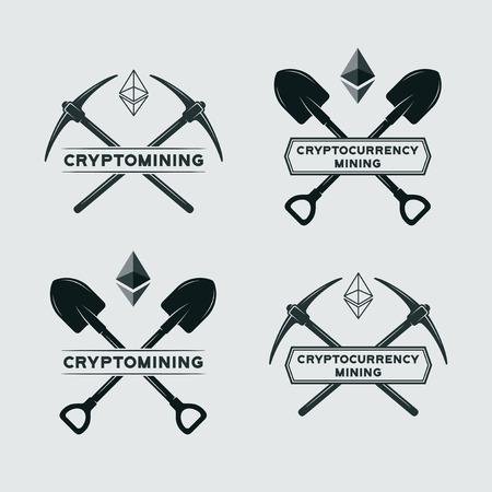 Ethereum mining symbol  Vector cryptocurrency mining emblem