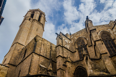 Barcelona Cathedral in Gothic Quarter. Gothic Cathedral of the Holy Cross and Saint Eulalia. Barcelona, Spain
