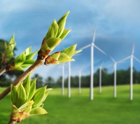 Photo pour Ecology concept. Renewable energy from wind turbines. - image libre de droit