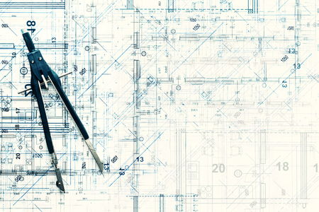 Photo pour Top view of architectural design project of new modern home. Creative construction studio background. Abstract blueprint drawing and divider. - image libre de droit