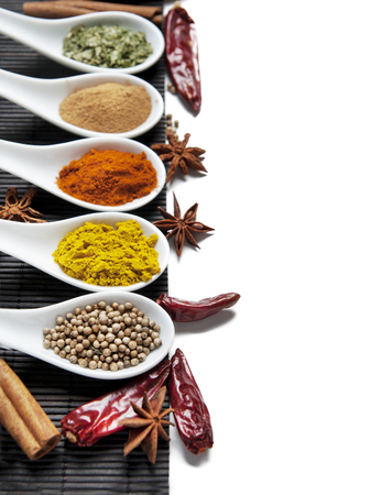 Photo pour Top view on mixed dry colorful spices in spoons isolated on white background. Indian food and oriental cooking ingredients. Asian restaurant food menu design. Curry, chili, paprika, pepper, cinnamon. - image libre de droit