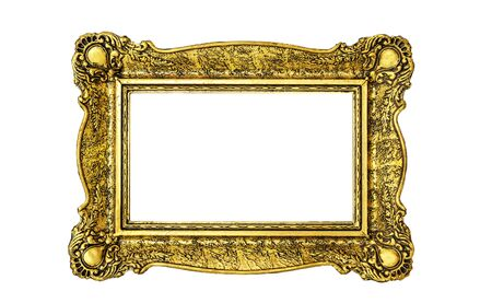 Photo pour Vintage luxury golden frame with ornate baroque decoration isolated over white - image libre de droit