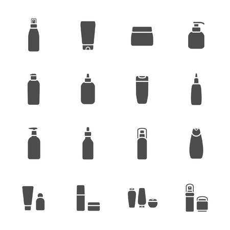 Cosmetic flasks icon set