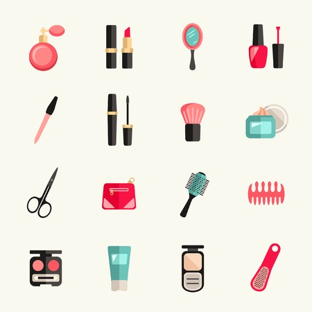 Beauty and makeup icon set