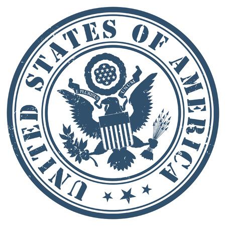 US passport seal gold on dark blue background.