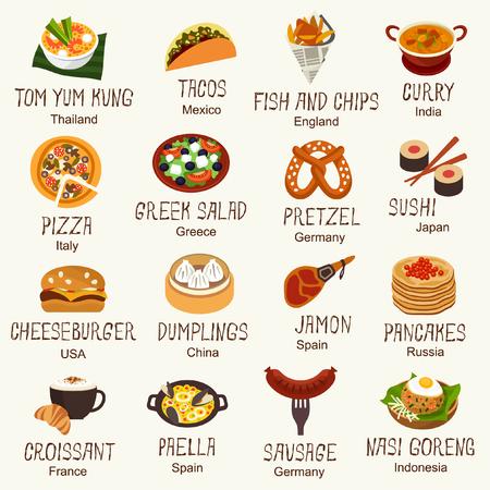Ilustración de World famous food - Imagen libre de derechos