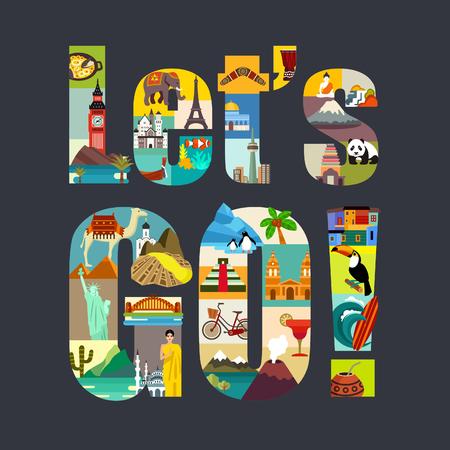 Photo pour Lets Go. Travel Around the World theme vector illustration - image libre de droit