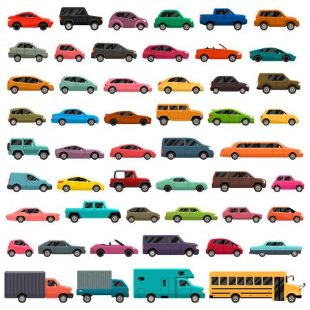 Illustration pour Different car types icons set - image libre de droit