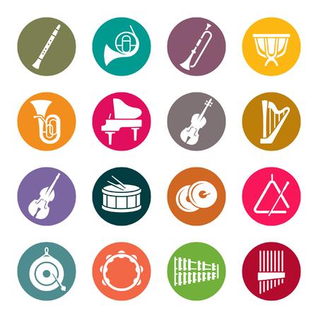 Illustration pour Orchestra instruments colourful icons - image libre de droit