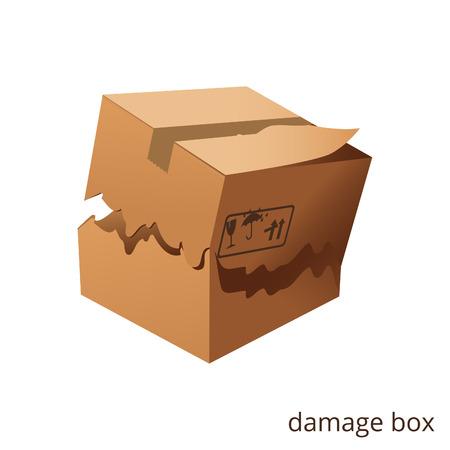 Ilustración de Vector torn and damage box cargo goods - Imagen libre de derechos