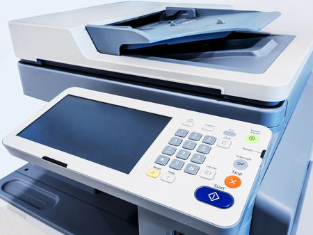 Foto de Close-up working printer scanner copier device - Imagen libre de derechos