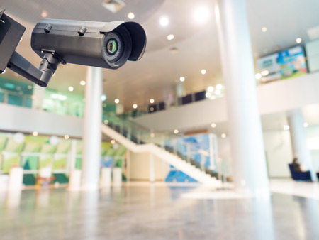 Photo for Security CCTV camera or surveillance system in office building - Royalty Free Image