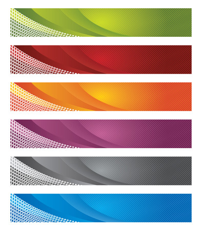 Set of digital banners in gradient and lines