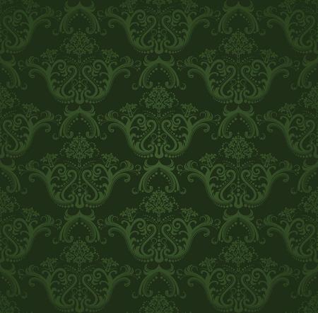 Illustration pour Dark green floral wallpaper - image libre de droit