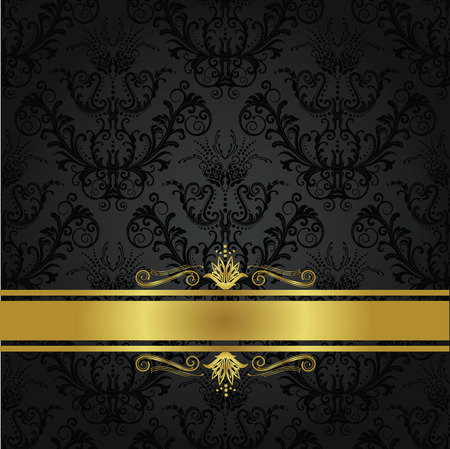 Luxury charcoal and gold book cover. Background can be used as seamless floral wallpaper