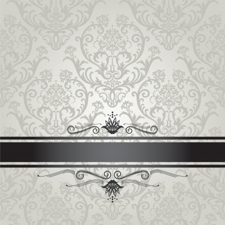 Luxury silver seamless floral wallpaper pattern book cover with black border