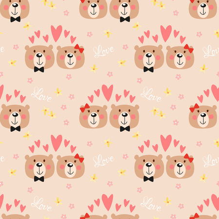Illustration for Cute couple bear seamless pattern. Lovely animal in Valentine concept. - Royalty Free Image