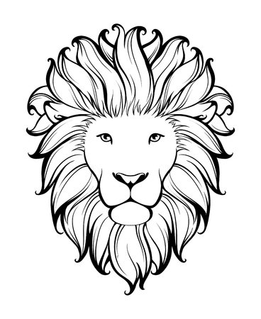 Illustration for Linear stylized lion. Black and white graphic. Vector illustration can be used as design for tattoo, t-shirt, bag, poster, postcard - Royalty Free Image