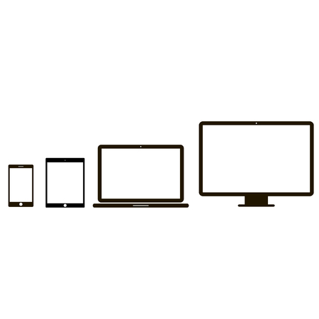 Illustration pour Electronic device icons. 4 device icons in white background - image libre de droit