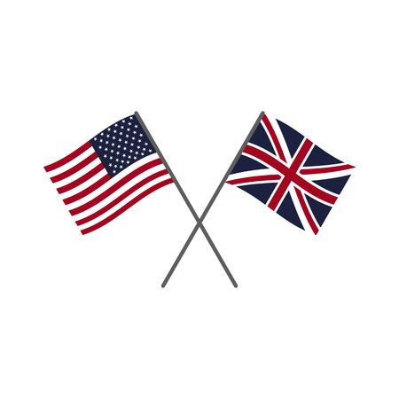 Illustration pour USA and UK flags. Flag icons set - image libre de droit