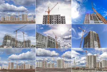 Photo pour Hoisting tower cranes and new multi-storey housing. Collage. - image libre de droit