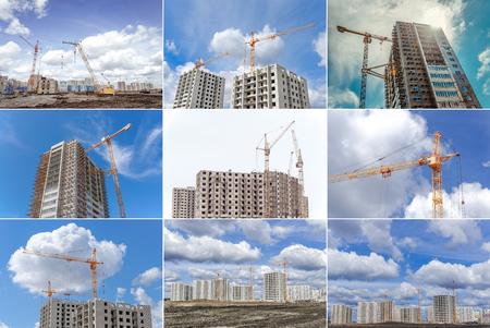 Photo pour Large crane and construction of new apartments - image libre de droit