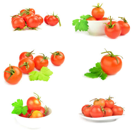 Photo for Group of tomatoes on a white background cutout - Royalty Free Image