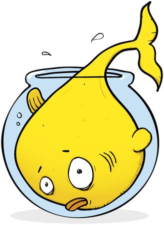 Illustration pour A Giant Goldfish That Has Outgrown His Bowl - image libre de droit