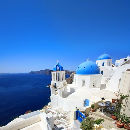 Photo for Typical view of Santorini, Greek island (Europe) - Royalty Free Image