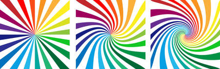 Square background with rainbow colored spirals