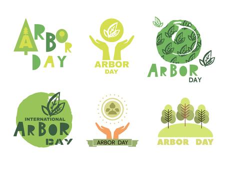 Illustration pour Arbor Day ecology concept design set. - image libre de droit
