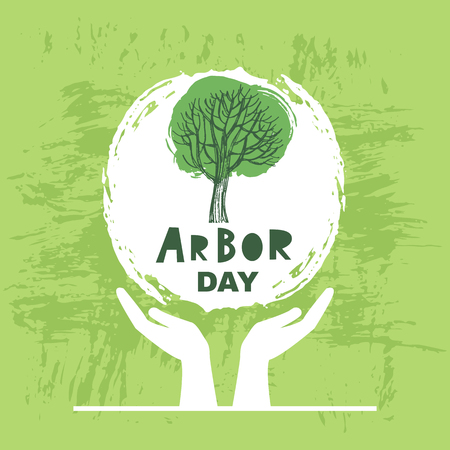 Illustration pour Arbor Day ecology concept design. - image libre de droit